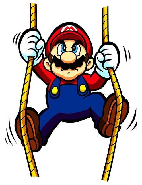 Mario climbing ropes up towards DK's platform.