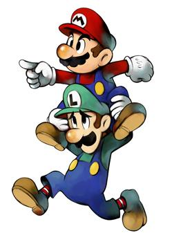 Mario and Luigi about to perform a Spin Jump