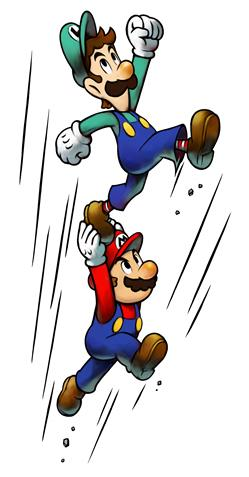 Mario and Luigi performing a High Jump