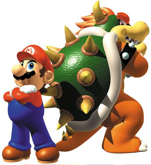 Mario and Bowser in Super Mario 64