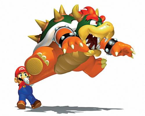 Mario swinging Bowser by his tail in Super Mario 64