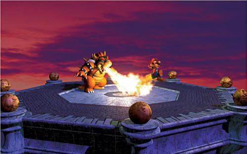 Bowser chargrilling Mario 2 in the Mario 64 artwork set