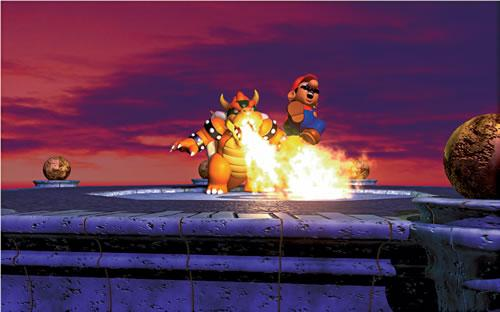 Bowser chargrilling Mario 3 in the Mario 64 artwork set