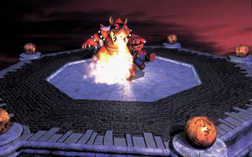 Bowser chargrilling Mario 4  in the Mario 64 artwork set