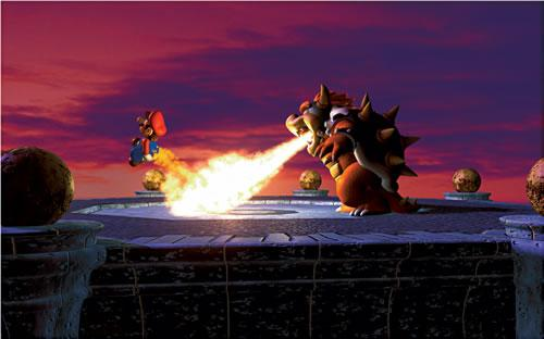 Bowser chargrilling Mario 5 in the Mario 64 artwork set