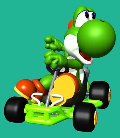 Yoshi In His Kart