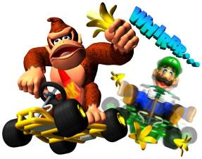 Donkey Kong throwing Banana Peels at Luigi
