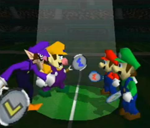 Mari Luigi Wario and Waluigi preparing to fight