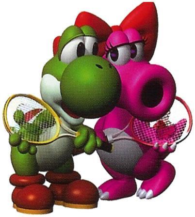 Yoshi And Birdo With Racquets