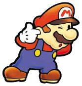 Mario with finger in ear