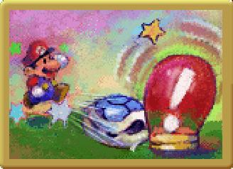 Mario kicking a blue Koopa shell