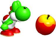 Green Yoshi sniffing an Apple
