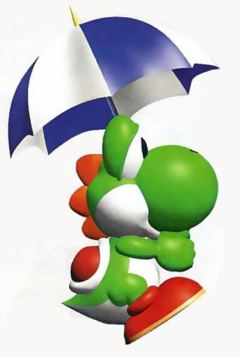Green Yoshi with an Umbrella