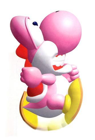 Pink Yoshi doing a Flutter Jump