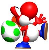 Red Yoshi holding a Yoshi Egg
