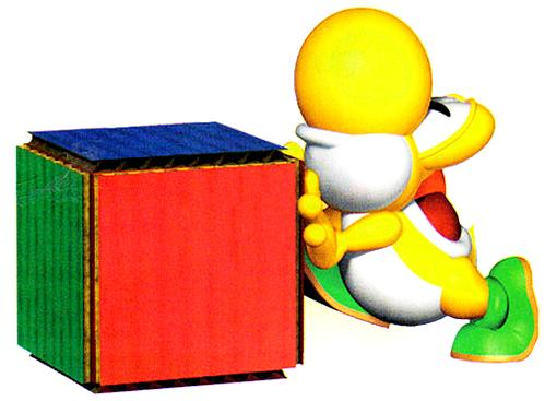 Yellow Yoshi pushing a crate