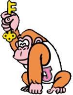 Donkey Kong Jr holding a key