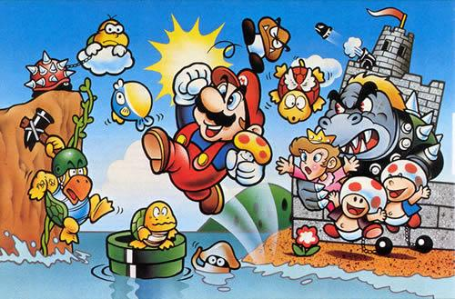 The art used on the front cover of Super Mario Bros for NES in Japan