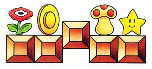 Items from Super Mario Bros sitting on blocks including Fire Flower, Coin, Mushroom and Star man