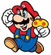 Mario jumping, Super Mushroom in hand