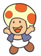 Toad the Mushroom Retainer jumping for joy