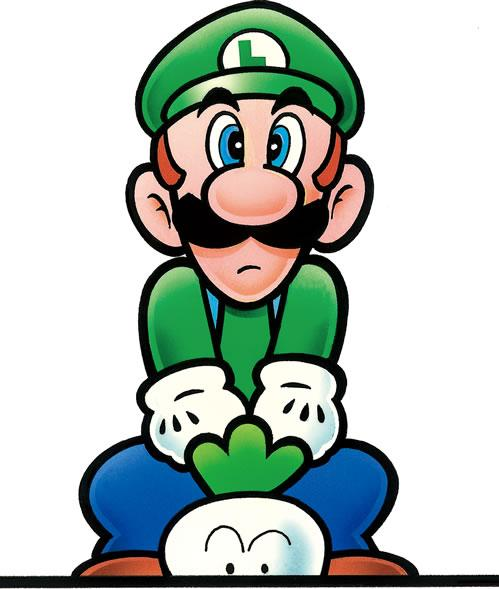 Luigi pulling up a vegetable