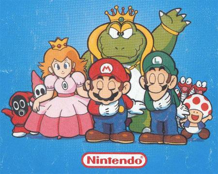 Promotional artwork featuring the principal cast of Super Mario Bros 2