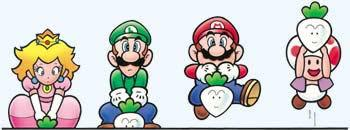 The Super Mario Bros. 2 characters in vegetable-pulling-strength order