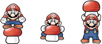 Mario lifting a Mushroom Block