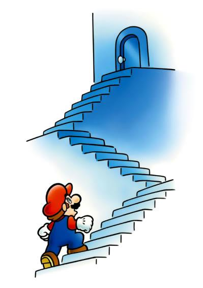 Mario walking up the steps to subcon