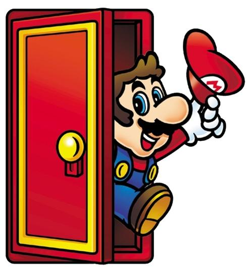 Mario coming out of a door