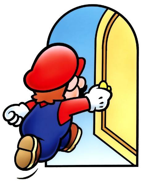 Mario entering a door