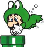 Frog Mario diving into a Warp Pipe