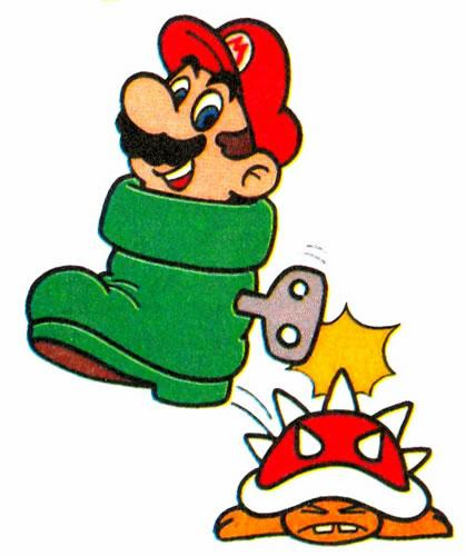 Mario in a Goomba Shoe stomping a Spiny