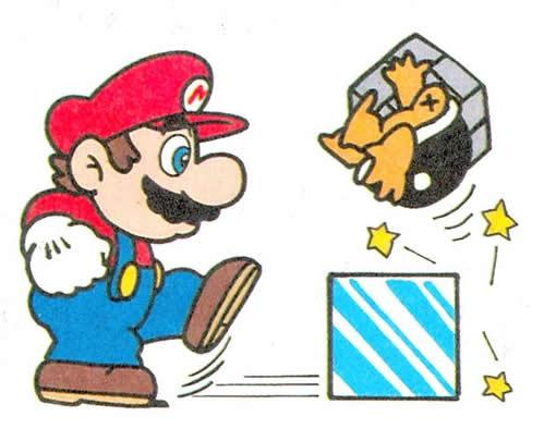 Mario kicking an ice block at a Buster Beetle