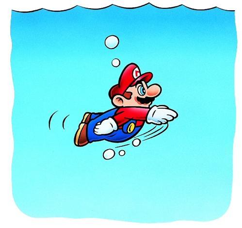 Mario swimming