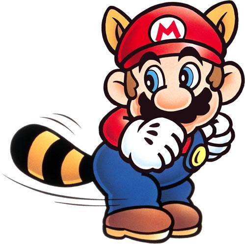 Raccoon Mario attacking