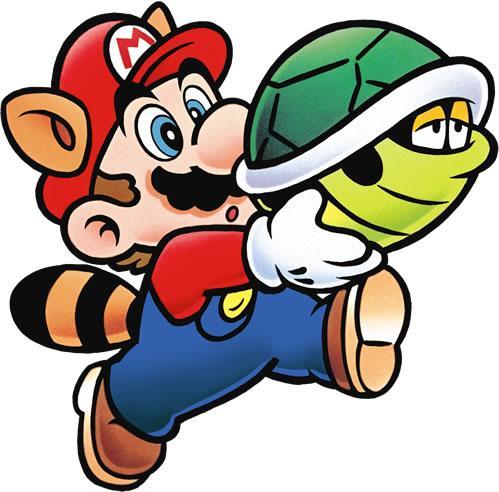 Raccoon Mario carrying a Green Shell