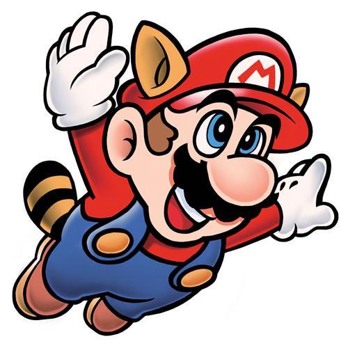 Raccoon Mario flying