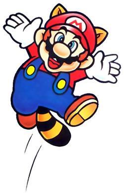 Raccoon Mario jumping