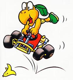 Koopa Troopa taken out by a banana peel