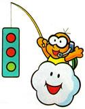 Lakitu holding the traffic lights