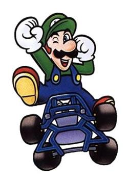 Luigi jumping out of his kart celebrating