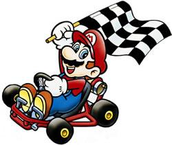 Mario waving the checkered flag