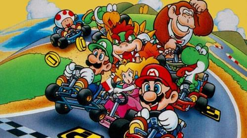 A scene featuring lots of the main characters in a karting melee
