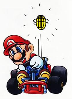 Mario collecting a coin in his kart
