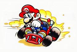 Mario skidding around a corner in his kart