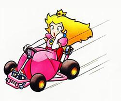 Peach driving her kart, looking real calm