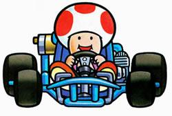 Toad smiling as he drives his kart
