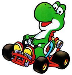 Yoshi driving his kart